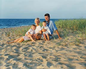 Cape Cod family portrait outdoor beach setting