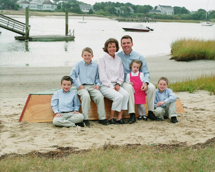 Cape Cod family portrait in harbor setting